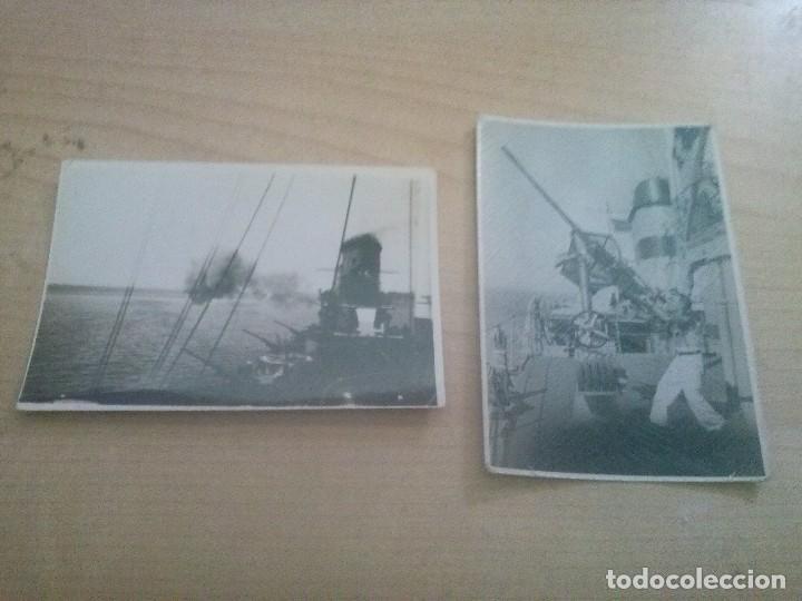 2 FOTOGRAFIAS ORIGINALES DE FUEGO REAL ANTIAEREO EN EL MEDITERRANEO EN 1938 (Militar - Fotografía Militar - Guerra Civil Española)