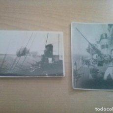 Militaria: 2 FOTOGRAFIAS ORIGINALES DE FUEGO REAL ANTIAEREO EN EL MEDITERRANEO EN 1938. Lote 119381299