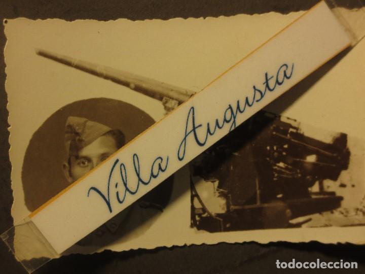 Militaria: CAÑON ARTILLERIA Y SOLDADO PALMA 1942 POST GUERRA CIVIL SELLO C/ G. FRANCO EN REVERSO - Foto 2 - 119499103