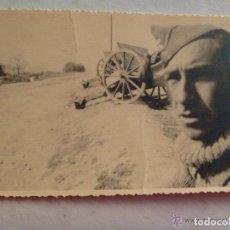 Militaria: GUERRA CIVIL : FOTO SARGENTO ARTILLERO Y PIEZAS DE ARTILLERIA . CENSURA FALANGE DE LAS JONS. Lote 120794091