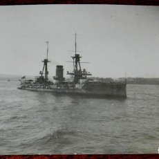 Militaria: FOTOGRAFIA DE EL ACORAZADO ALFONSO XIII DURANTE EL DESEMBARCO EN ALHUCEMAS EN 1925 EN LA GUERRA DEL . Lote 122093571