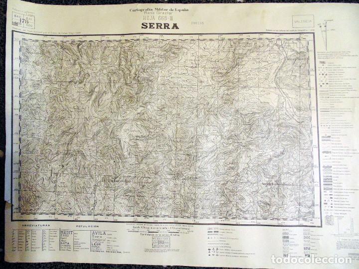 MAPA TOPOGRÁFICO MILITAR DE LA GUERRA CIVIL - SERRA - AÑO 1938 70X55 CM (Militar - Fotografía Militar - Guerra Civil Española)