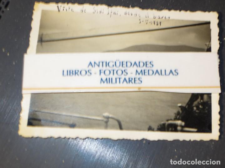 GUERRA CIVIL DESEMBARCO BARCO COBATIENTES LEGION A SIDI IFNI 1 -V - 1939 FOTO INEDITA DATADA (Militar - Fotografía Militar - Guerra Civil Española)