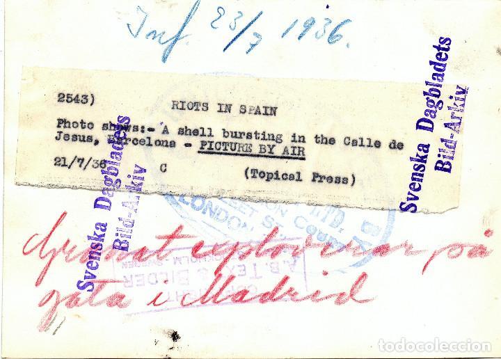 Militaria: LEVANTAMIENTO MILITAR JULIO 1936 CALLE DE JESUS BARCELONA GUERRA CIVIL ESPAÑOLA - Foto 2 - 132486778