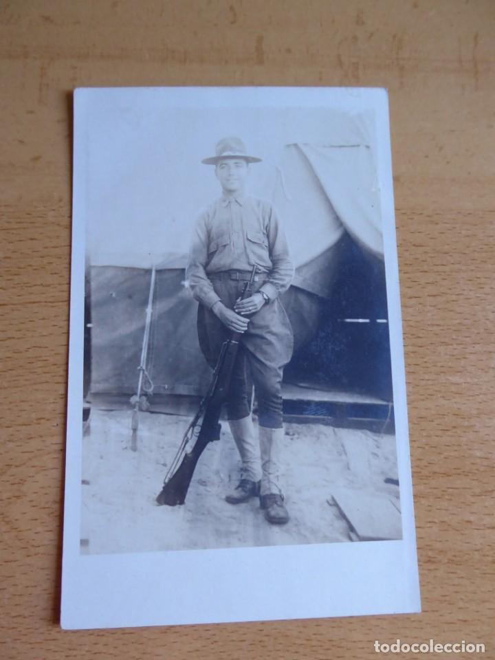 Militaria: Fotografía soldado español del ejército norteamericano. American Expeditionary Forces 1918 - Foto 2 - 135540782