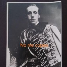 Militaria: FOTOGRAFIA DEL REY ALFONSO XIII CON UNIFORME DE HUSAR DE LA PRINCESA, FOTO PALOMEQUE, TAMAÑO POSTAL.. Lote 135684711