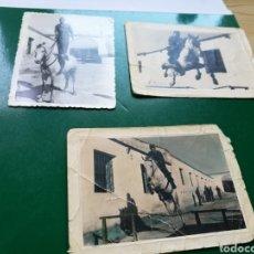 Militaria: TRES FOTOS ANTIGUAS DE UN MILITAR ESPAÑOL A CABALLO. Lote 136133314