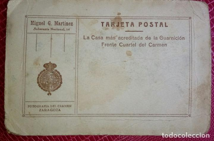 Militaria: Fotografía estudio, soldado Regimiento del Infante nº 5. Tamaño tarjeta postal. Ver dorso. Zaragoza - Foto 3 - 137911910