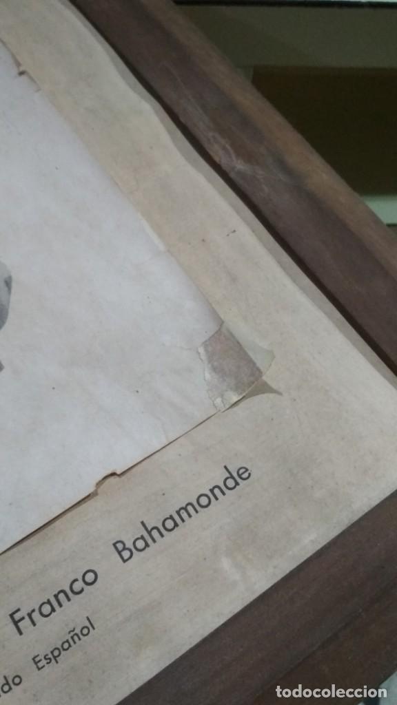 Militaria: fotografía o dibujo francisco franco jefe del estado español enmarcada 41x56 cm. De antigua escuela - Foto 3 - 139131806
