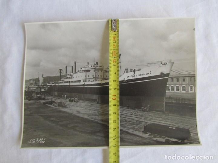 Militaria: Fotografía buque vapor Castillo Montjuich dique nº 2, 10-8-1951, El Ferrol del Caudillo, 22x16 cm - Foto 4 - 139566926