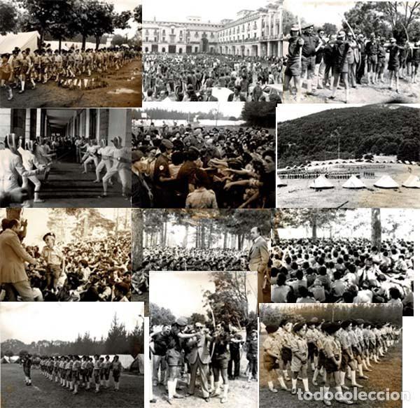 14 FOTOGRAFÍAS CAMPAMENTOS DE LA OJE. ORGANIZACIÓN JUVENIL ESPAÑOLA. VARIAS ACTIVIDADES.- 24 X 18 CM (Militar - Fotografía Militar - Otros)