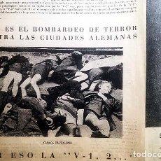 Militaria: BOMBARDEOS CON LA V-2 (1944) 2ª GUERRA MUNDIAL. PUBLICIDAD BÉLICA. NAZISMO. Lote 140572670