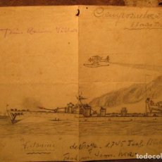 Militaria: DIBUJO ORIGINAL GUERRA CIVIL 1938 AVION Y BARCO VATONINI DESTROYE ITALIANO CIENPOZUELOS. Lote 140754782