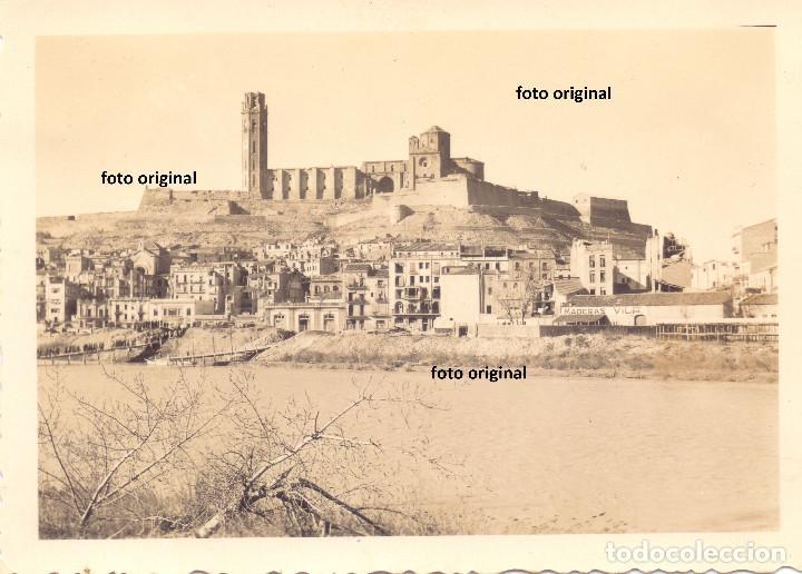 VISTAS DE LLEIDA TRAS SU CAIDA, PUENTE PROVISIONAL 1938 GUERRA CIVIL LEGION CONDOR (Militar - Fotografía Militar - Guerra Civil Española)