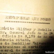 Militaria: SERVICIOS PRESTADOS TENIENTE FALANGE EN GUERRA CIVIL INTENDENCIA EN MALAGA MEDALLA CAMPAÑA. Lote 141327490