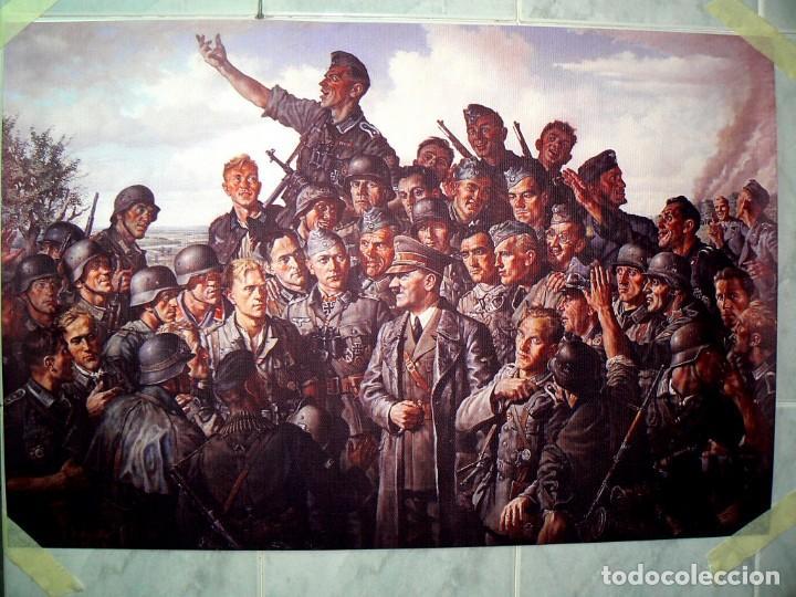HITLER CON LOS SOLDADOS DEL TERCER REICH.CUADRO EN LIENZO – IMPRESO.40X60 CM (Militar - Fotografía Militar - II Guerra Mundial)