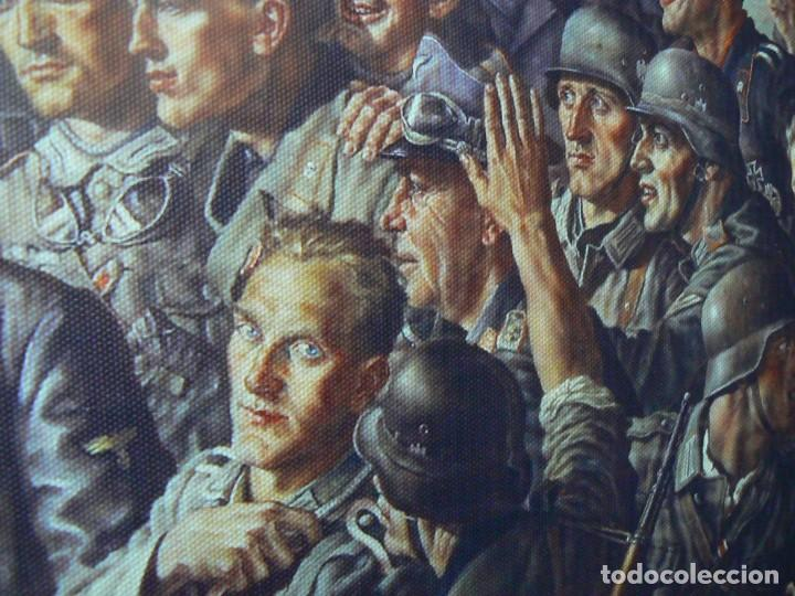 Militaria: Hitler con los soldados del Tercer Reich.Cuadro en lienzo – impreso.40x60 cm - Foto 2 - 182320712