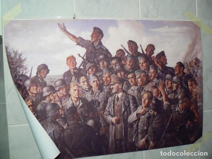 Militaria: Hitler con los soldados del Tercer Reich.Cuadro en lienzo – impreso.40x60 cm - Foto 4 - 182320712
