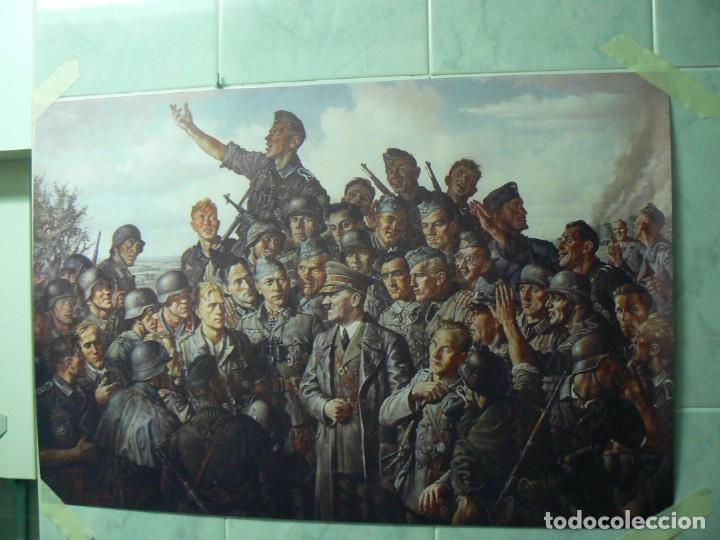 Militaria: Hitler con los soldados del Tercer Reich.Cuadro en lienzo – impreso.40x60 cm - Foto 9 - 182320712