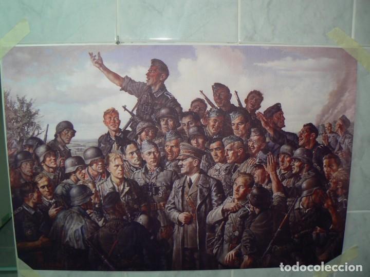 Militaria: Hitler con los soldados del Tercer Reich.Cuadro en lienzo – impreso.40x60 cm - Foto 12 - 182320712