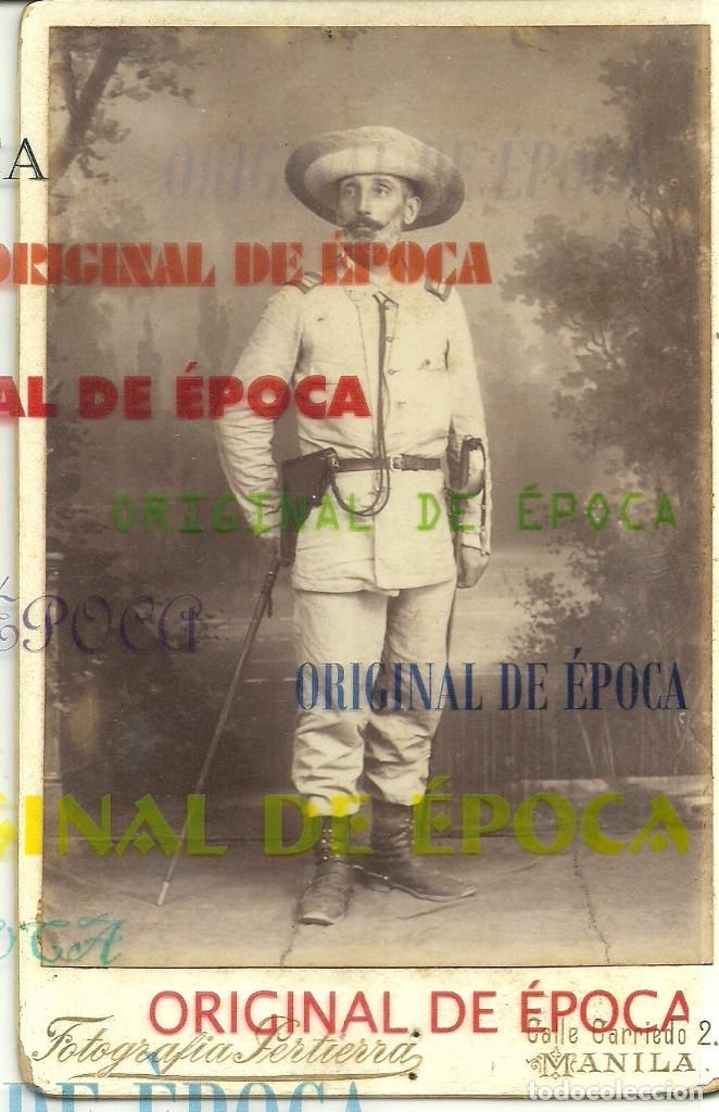 (XJ-190101)OFICIAL CAMPAÑA DE FILIPINAS - FOTOGRAFIA PERTIERRA (MANILA) - BASTON DE MANDO,SABLE Y PI (Militar - Fotografía Militar - Otros)
