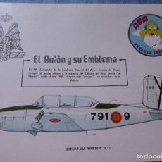 Militaria: FICHA AVIÓN BEECH T 34 A. 791 ESCUADRÓN ACADEMIA GENERAL DEL AIRE MENTOR ESCUELA INICIAL. Lote 145907346