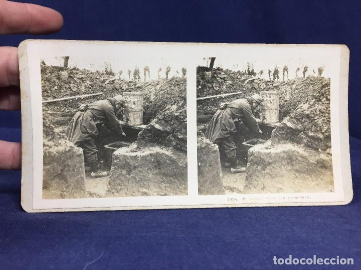 FOTOGRAFIA ESTEREOSCOPICA MILITAR SOLDADO I GUERRA MUNDIAL LAVABO EN TRINCHERAS FOTO 2624 (Militar - Fotografía Militar - I Guerra Mundial)