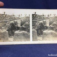 Militaria: FOTOGRAFIA ESTEREOSCOPICA MILITAR SOLDADO I GUERRA MUNDIAL LAVABO EN TRINCHERAS FOTO 2624. Lote 146193082
