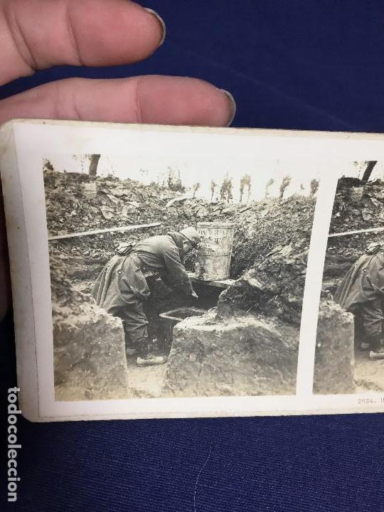 Militaria: fotografia estereoscopica militar soldado I guerra mundial lavabo en trincheras foto 2624 - Foto 2 - 146193082