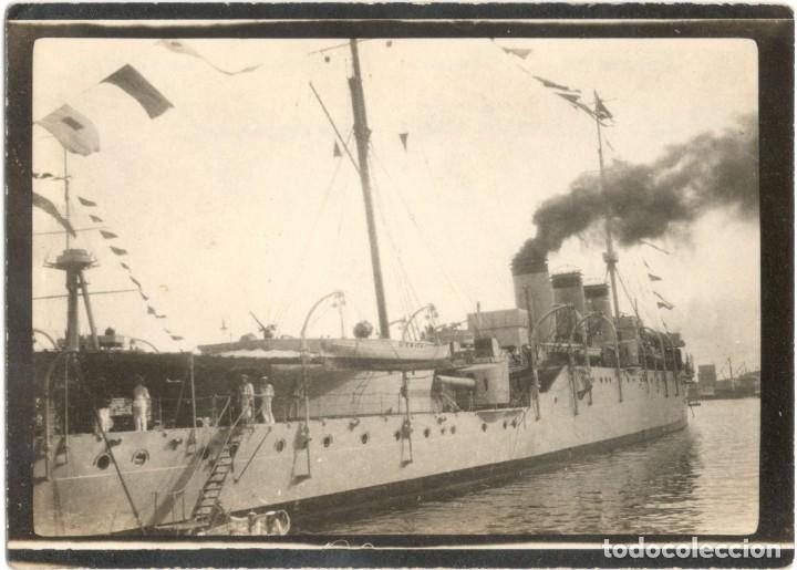 MARINA - FOTOGRAFÍA DEL CRUCERO REINA VICTORIA EUGENIA - PUERTO BARCELONA - AÑO 1924 (Militar - Fotografía Militar - Otros)