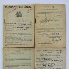 Militaria: DOC-43 EJERCITO ESPAÑOL 4 LIBRETAS ,HOJAS DE MOVILIZACION .AÑO 1935.. Lote 147189418