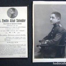 Militaria: MILITAR TENIENTE INFANTERÍA. FOTOGRAFÍA, ESQUELA Y NOTA DE PRENSA DE SU MUERTE. GUERRA ÁFRICA 1914. Lote 148058278