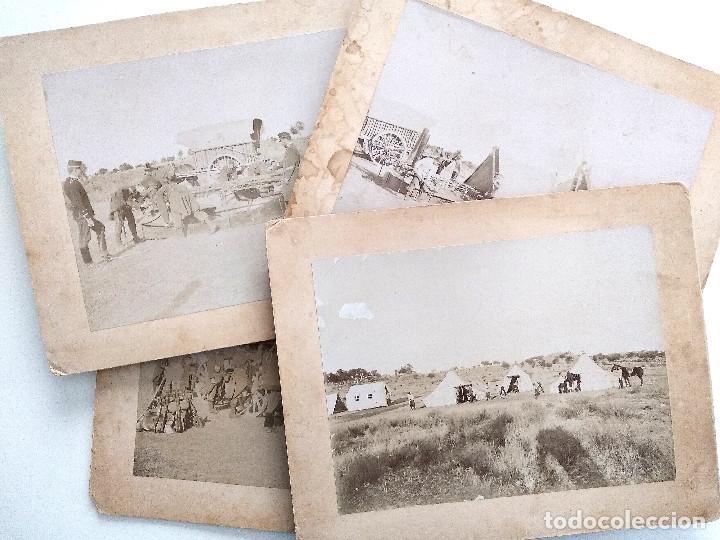 LOTE 4 FOTOGRAFÍAS ORIGINALES CAMPAMENTO MILITAR FINALES SIGLO XIX PRINCIPIOS XX - 28 X 23 CM CARTÓN (Militar - Fotografía Militar - Otros)