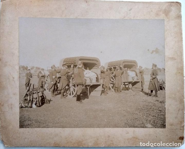 Militaria: LOTE 4 FOTOGRAFÍAS ORIGINALES CAMPAMENTO MILITAR FINALES SIGLO XIX PRINCIPIOS XX - 28 X 23 CM CARTÓN - Foto 3 - 151018298