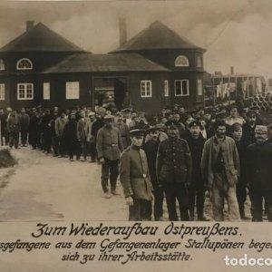 1916 Prisioneros de guerra en campamentos Stalluponen 1ª Guerra Mundial Postal