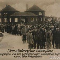 Militaria: 1916 PRISIONEROS DE GUERRA EN CAMPAMENTOS STALLUPONEN 1ª GUERRA MUNDIAL POSTAL FOTOGRÁFICA. Lote 149311130
