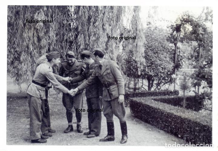 OFICIALES LEGION CONDOR JARDIN ZARAGOZA 1937 GUERRA CIVIL (Militar - Fotografía Militar - Guerra Civil Española)