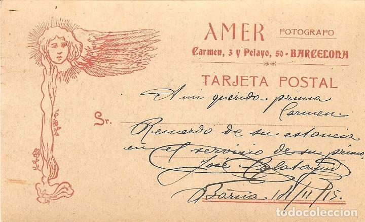 Militaria: FOTOGRAFÍA ANTIGUA DE UN MILITAR - TARJETA POSTAL - AMER FOTÓGRAFO, BARCELONA - FECHADO 1915 - Foto 2 - 153353226