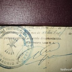 Militaria: FALANGE MADRID CAMARADA FALANGISTA INGRESO 1939 CUÑO JONS. Lote 154235682
