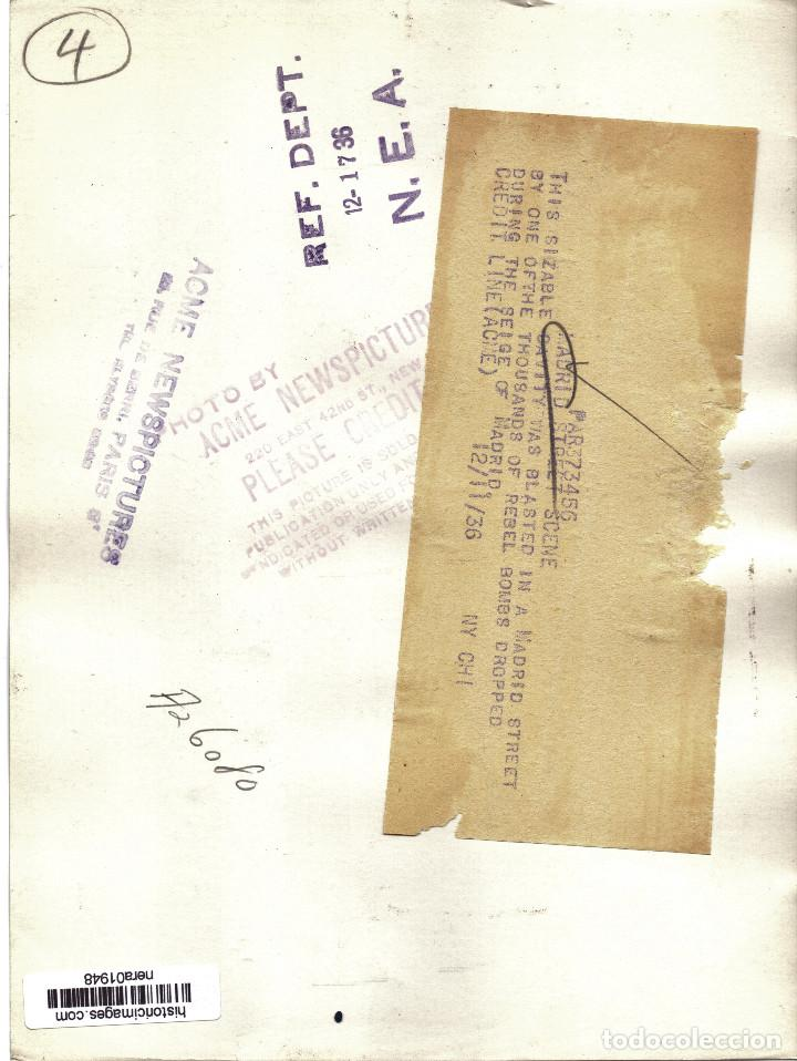 Militaria: FOTO PRENSA EFECTOS BOMBARDEO CALLES MADRID DICIEMBRE 1936 GUERRA CIVIL - Foto 2 - 155441414