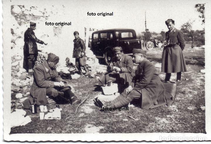 DESCANSO OFICIALES ITALIANOS CTV DIVISION LITTORIO CERCA TOLEDO MARZO 1939 GUERRA CIVIL (Militar - Fotografía Militar - Guerra Civil Española)