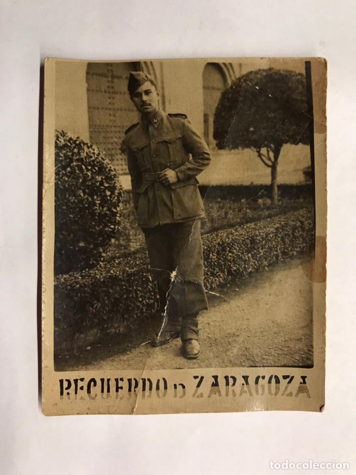 MILITAR. RETRATO SOLDADO. PIE DE FOTOGRAFÍA: RECUERDO DE ZARAGOZA (H.1940?) (Militaria - Militärische Fotografien - Andere Fotografien)