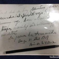 Militaria: COPIA FOTOGRAFÍA ÚLTIMO BORRADOR PARTE DE GUERRA 1º DE ABRIL 1939 AÑO DE LA VICTORIA S XX. Lote 156036378