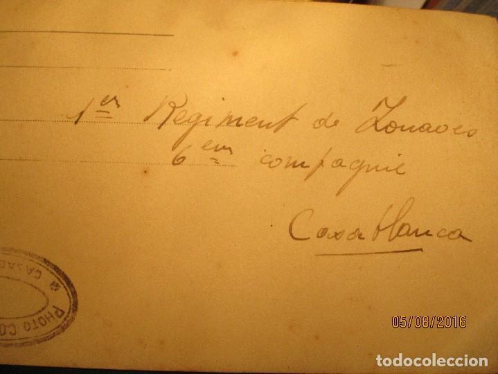 Militaria: ANTIGUA tarjeta POSTAL manuscrita MILITAR 1º REGIMIENTO CASABLANCA colonia france sello COUATSON - Foto 5 - 157799590