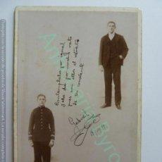 Militaria: FOTOGRAFÍA ANTIGUA ORIGINAL. OFICIAL. TENIENTE. CONDE CANINERO. OVIEDO AÑO 1899. Lote 159508802