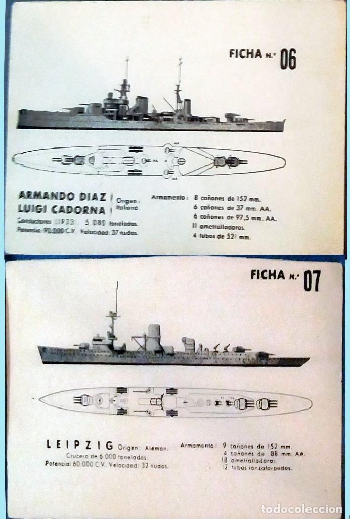 Militaria: LOTE CON 8 FICHAS DE BARCOS DE GUERRA ENEMIGO Y SUS CARACTERISTICAS PARA SU IDENTIFICACION 14 X 8,5 - Foto 4 - 160241758
