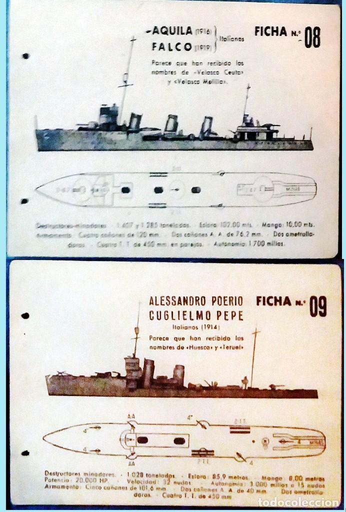 Militaria: LOTE CON 8 FICHAS DE BARCOS DE GUERRA ENEMIGO Y SUS CARACTERISTICAS PARA SU IDENTIFICACION 14 X 8,5 - Foto 5 - 160241758