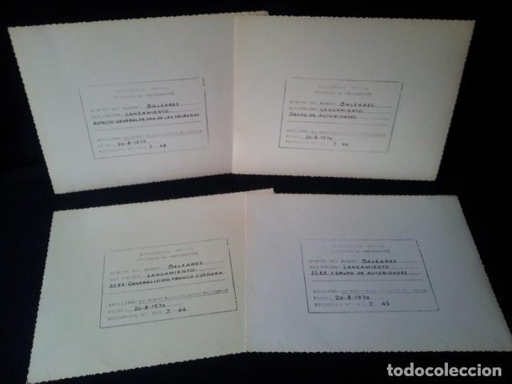 Militaria: 4 FOTOGRAFIAS OFICIALES DEL GENERAL FRANCISCO FRANCO - LANZAMIENTO DEL BUQUE BALEARES - Foto 2 - 160508926