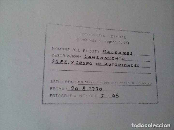 Militaria: 4 FOTOGRAFIAS OFICIALES DEL GENERAL FRANCISCO FRANCO - LANZAMIENTO DEL BUQUE BALEARES - Foto 3 - 160508926