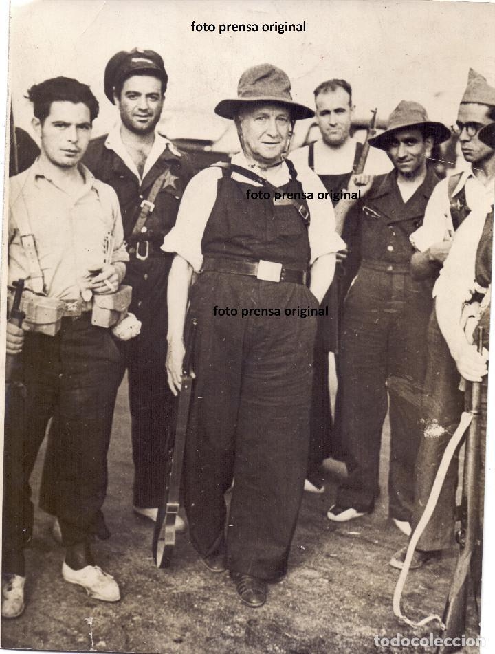 LARGO CABALLERO MINISTRO GUERRA SOCIALISTA NORTE MADRID GUADARRAMA MILICIANOS GUERRA CIVIL 1936 (Militar - Fotografía Militar - Guerra Civil Española)